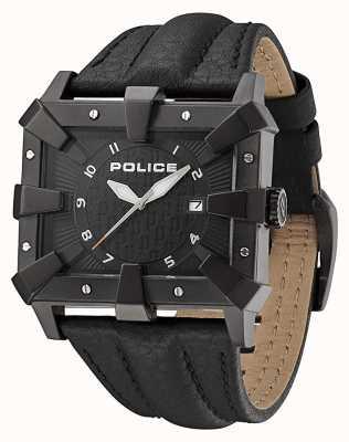 Police Quadrante nero con cinturino in pelle nera da uomo PL.93404AEU/02A