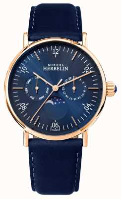 Michel Herbelin Cinturino in pelle blu con quadrante blu con quadrante blu 12747/PR15BL
