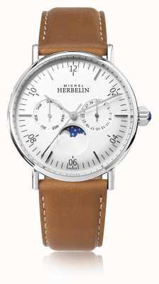 Michel Herbelin Quadrante bianco con cinturino in pelle marrone luna di ispirazione Montre 12747/AP11GO