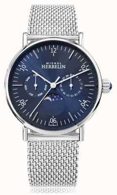 Michel Herbelin Quadrante blu con cinturino a maglia in acciaio inossidabile a ispirazione luna 12747/AP15B