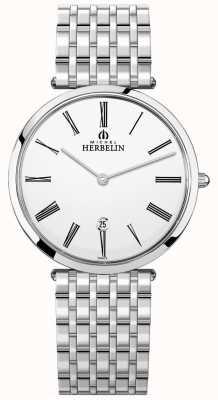 Michel Herbelin Quadrante bianco con cinturino in acciaio inossidabile epsilon da uomo 19416/B01N