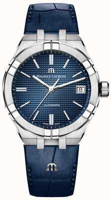 Maurice Lacroix Aikon automatico 39mm quadrante blu cinturino in pelle blu AI6007-SS001-430-1