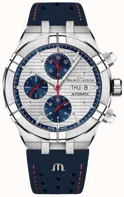 Maurice Lacroix Cinturino blu automatico con quadrante blu / rosso a edizione limitata Aikon AI6038-SS001-133-1