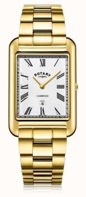 Rotary | bracciale placcato oro da uomo | quadrante bianco | GB05283/01