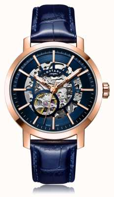 Rotary | cinturino in pelle blu da uomo | cassa in oro rosa | GS05354/05
