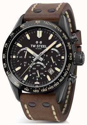 TW Steel | cinturino in pelle marrone da uomo | cronografo nero | CHS1