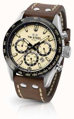 TW Steel | cinturino in pelle marrone da uomo | cronografo crema | CHS2