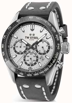 TW Steel | cinturino in pelle grigio scuro da uomo | quadrante argento | CHS3