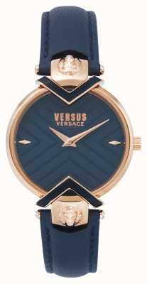 Versus Versace | cinturino in pelle blu da donna con oro rosa | VSPLH0419