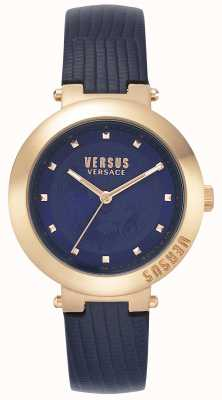 Versus Versace | cinturino in pelle blu da donna | cassa in oro rosa | VSPLJ0419