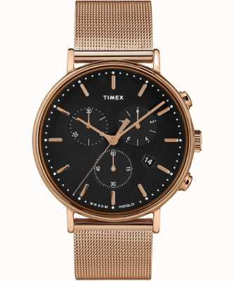 Timex | quadrante nero di fairfield chrono | cassa in oro rosa | TW2T37100D7PF