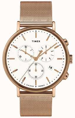 Timex | fairfield chrono quadrante bianco | cassa in oro rosa | TW2T37200D7PF