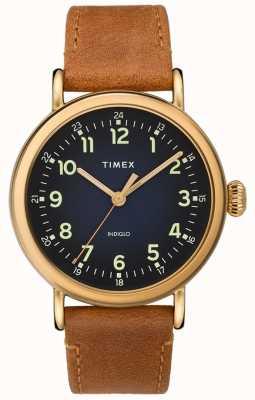 Timex | cinturino in pelle marrone da uomo | quadrante blu | TW2T20000D7PF