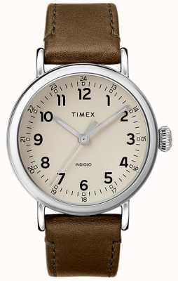 Timex | cinturino in pelle verde oliva | quadrante grigio | TW2T20100D7PF
