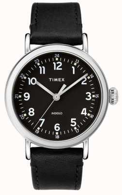 Timex | cinturino in pelle nera da uomo | quadrante nero | TW2T20200D7PF