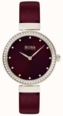 Boss | cinturino in pelle bordeaux da donna | 1502481