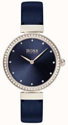 Boss | cinturino in pelle blu da donna | quadrante blu | 1502477