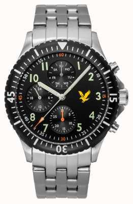 Lyle & Scott Quadrante nero con quadrante nero in acciaio inossidabile eagle LS-6008-11