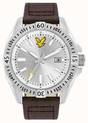 Lyle & Scott Quadrante argentato da uomo in pelle marrone tattica LS-6017-02