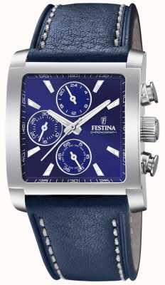 Festina | cronografo da uomo in acciaio inossidabile | cinturino in pelle blu | F20424/2