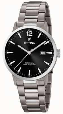 Festina | orologio da uomo in titanio | quadrante nero | bracciale in titanio | F20435/3