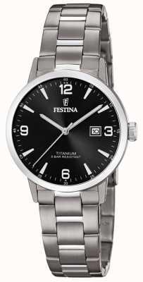 Festina | orologio da donna in titanio | quadrante nero | bracciale in titanio | F20436/3