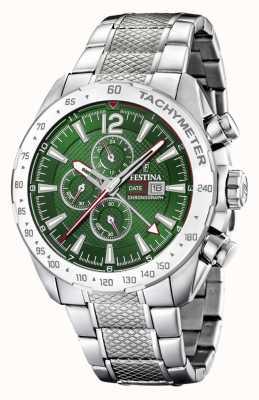 Festina | cronografo da uomo e doppio fuso | quadrante verde | bracciale in acciaio F20439/3