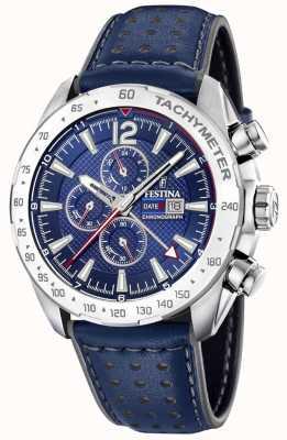 Festina | cronografo da uomo e doppio fuso | quadrante blu | braccialetto di pelle F20440/2