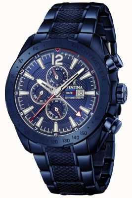 Festina | cronografo uomo blu placcato | bracciale in acciaio inossidabile | F20442/1
