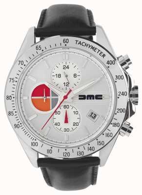DeLorean Motor Company Watches 1981 pelle argento | quadrante argento | pelle nera | DMC-7