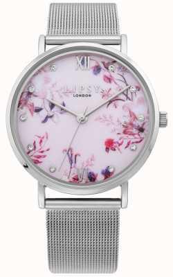Lipsy | braccialetto da donna in maglia d'argento | quadrante floreale rosa pallido | LP643