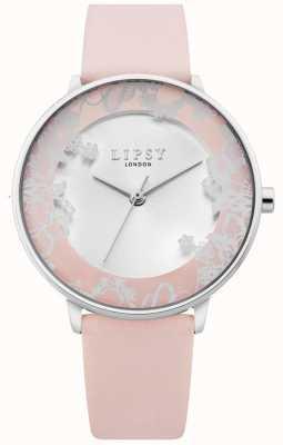 Lipsy | cinturino in pelle rosa da donna | quadrante silver sunray | LP658