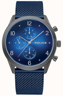 Police | quadrante nero blu | braccialetto a maglie blu | 15922JSU/03MMBL