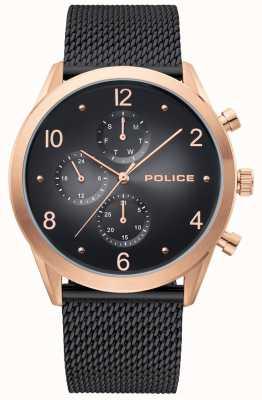 Police | cassa da uomo in oro rosa | cinturino in maglia nera | multi-dial nero 15922JSR/02MMB