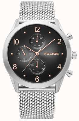 Police | cinturino in maglia da uomo in argento | multi-dial nero | 15922JS/02MM