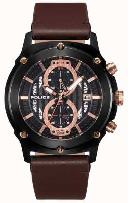 Police | mens lulworth | cinturino in pelle marrone | multi-dial nero | 15917JSB/02A