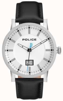Police | orologio da uomo collin | cinturino in pelle nera | quadrante argento | 15404JS/01
