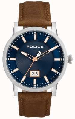 Police | orologio da uomo collin | cinturino in pelle marrone | quadrante blu | 15404JS/03