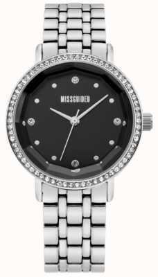 Missguided | acciaio inossidabile delle donne | quadrante nero | castone di cristallo | MG021SM