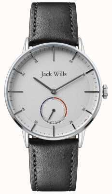 Jack Wills | mens batson ii | cinturino in pelle nera | quadrante bianco | JW002SLBK