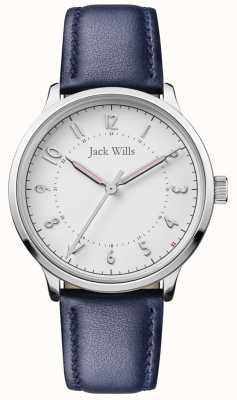 Jack Wills | conoscenza delle donne | cinturino in pelle blu | quadrante bianco | JW017WHNV