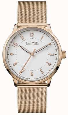 Jack Wills | conoscenza delle donne | maglia oro rosa | quadrante bianco | JW017WHRS