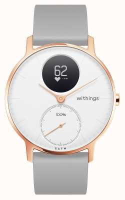 Withings Cinturino in silicone grigio con quadrante bianco oro rosa hr 36 mm HWA03B-36WHITE-RG-S.GREY-ALL-INTER