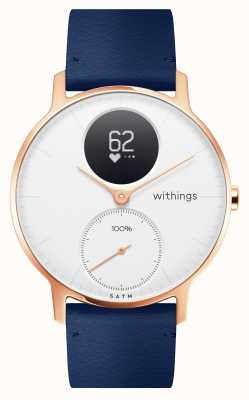 Withings Acciaio h. 36 mm in pelle blu oro rosa (+ cinturino in silicone grigio) HWA03B-36WHITE-RG-L.BLUE-ALL-INTER