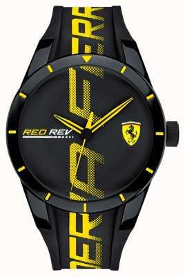 Scuderia Ferrari | mens redrev | cinturino in caucciù nero | quadrante nero | 0830615