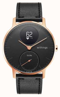 Withings Acciaio hr 36 mm in oro rosa nero (+ cinturino in silicone nero) HWA03B-36BLACK-RG-L.BLACK-ALL-INTER