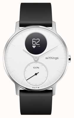 Withings Acciaio hr 36mm quadrante bianco cinturino in silicone nero HWA03-36WHITE-ALL-INTER