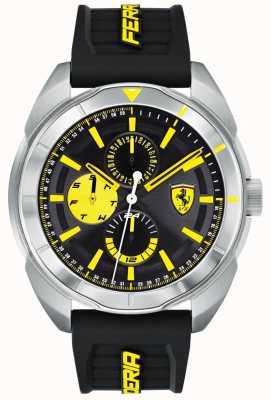 Scuderia Ferrari | mens forza | cinturino in caucciù nero | quadrante nero / giallo | 0830575