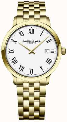 Raymond Weil | toccata da uomo | bracciale in acciaio inossidabile dorato | quadrante bianco 5485-P-00300