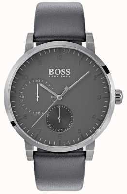 Boss Quadrante grigio cinturino in pelle grigio ossigeno ossigeno 1513595